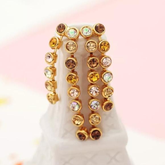 Champagne Swarovski Crystal 14k Gold Earrings